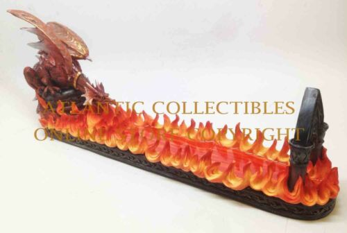 Ebros 15 Inch Fire Breathing Dragon Resin Incense Holder Statue Figurine - Ebros Gift
