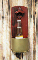 Ebros Western Hunter's 12 Gauge Shotgun Ammo Shell Casing Bottle Cap Opener Wall Mounted Decor with Cap Catcher Rustic Country Themed Decorative Accent