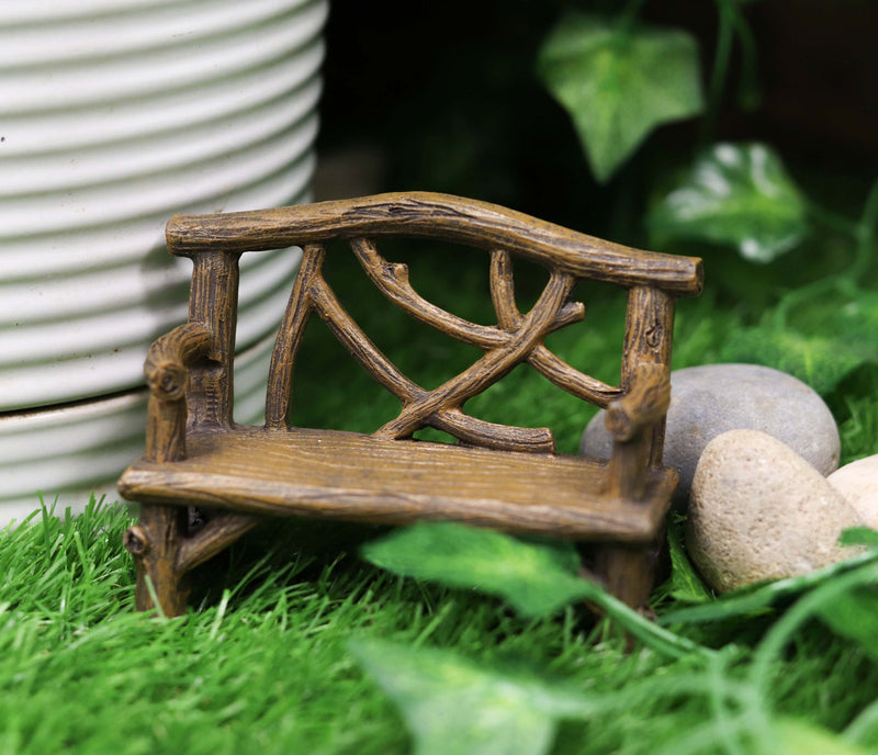 "Ebros Fairy Garden Miniature Tree Twigs and Branch Love Bench Sculpture 3.5"" H"