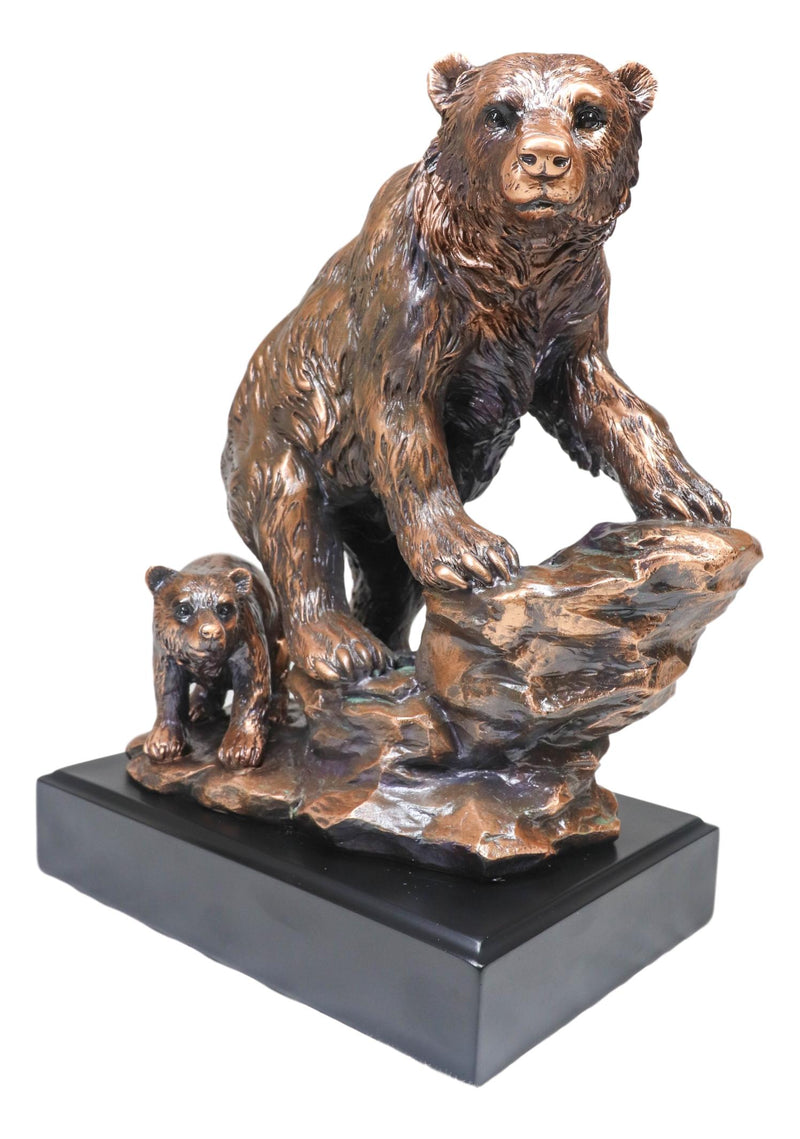 "Black Bear Mother With Cub Climbing Rock Bronze Electroplated Resin Statue 9""H"