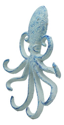 "Ebros Gift 6.5"" H Cast Iron Nautical Deep Sea Octopus Wall Mount 6 Pegs Hooks Hanging Plaque Tentacle Hook Feature for Keys Hats Leash Backpacks (Ocean Blue)"