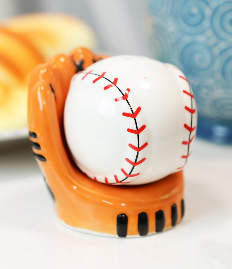 Ceramic Baseball With Glove Mitt Sports Salt And Pepper Shakers Figurine Set