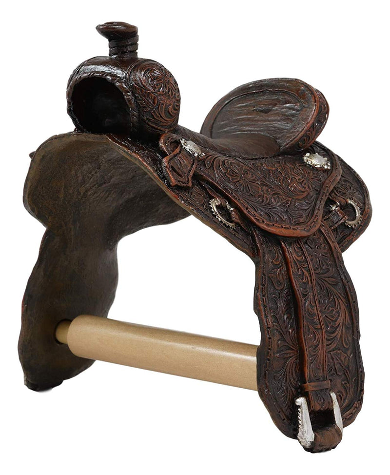 "Ebros Western Rustic Tooled Pattern Horse Saddle Decorative Toilet Paper Holder Figurine 7.5""Tall Powder Room Bathroom Wall Decor Plaque For Cabin Hunting Lodge"