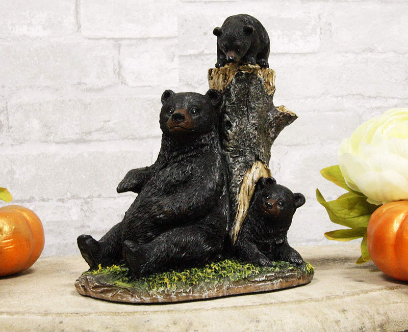 "Ebros 7.5"" Tall Mother Black Bear with 2 Playful Cubs by Tree Stump Statue Rustic Wildlife Forest Western Cabin Decor Bears Figurine"