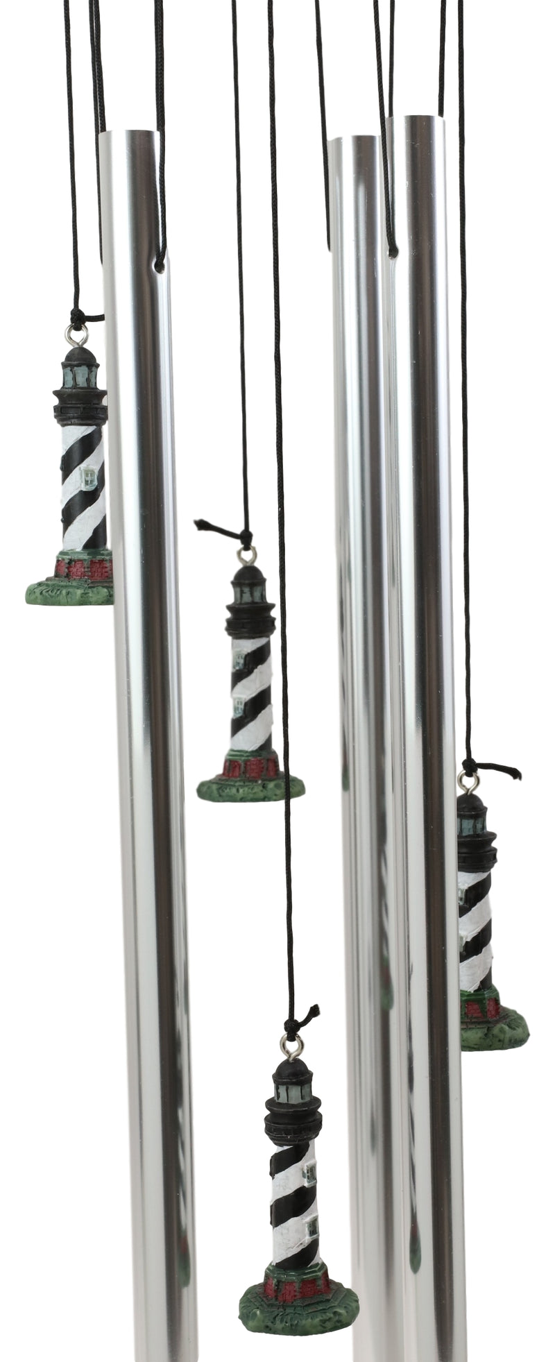 Cape Hatteras Black White Spiral Bands Lighthouse Garden Patio Wind Chime Mobile