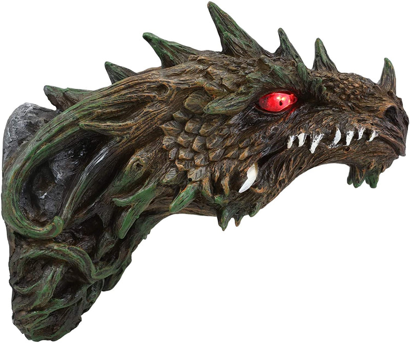 Ebros Dryad Greenman Dragon Wall Decor with Red LED Illuminated Eyes Sculpture