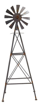 "Ebros 25.25"" Tall Large Rustic Country Farm Agricultural Windmill Outpost Galvanized Metal Handcrafted Sculpture Western Home Accent Table or Floor Vintage Finish Decor Made To Scale"