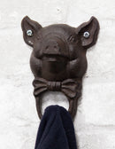 Cast Iron Farmhouse Rustic Butler Pig Head with Bowtie Wall Coat Hook Pack Of 2