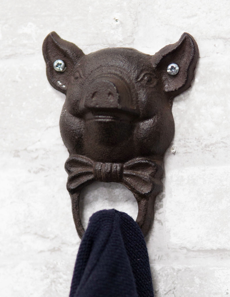Cast Iron Vintage Farmhouse Rustic Butler Pig Head with Bowtie Wall Coat Hook