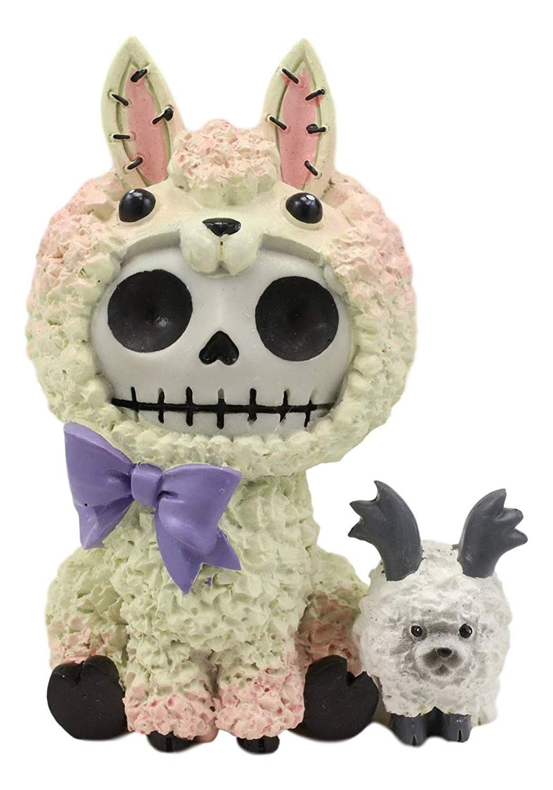 "Ebros Gift 3.25"" Tall Furrybones Paco The Fluffy Sheep Lamb with Purple Ribbon Collectible Figurine"