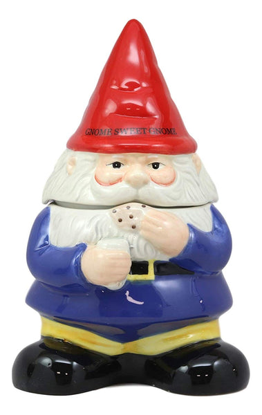 "Ebros Whimsical Sweet Tooth Gnome Ceramic Cookie Jar With Air Tight Lid 9.75""Tall Decorative Kitchen Accessory Figurine Of Magical Gnomes As Decor Storage For Dry Baking Ingredients Goods Knick Knacks"