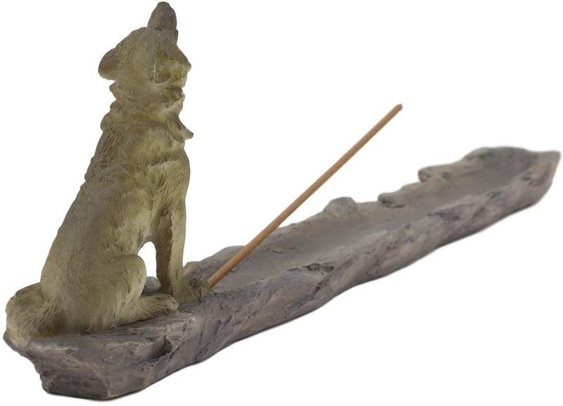 Ebros Sitting Alpha Gray Wolf Howling by The Creek Incense Burner Holder