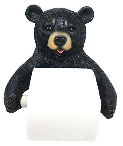 "Ebros Whimsical Black Bear Toilet Paper Holder Bathroom Wall Decoration 8.25""Tall"