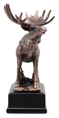 The Emperor Wild Elk Bull Moose Statue Bronze Electroplated Figurine With Base