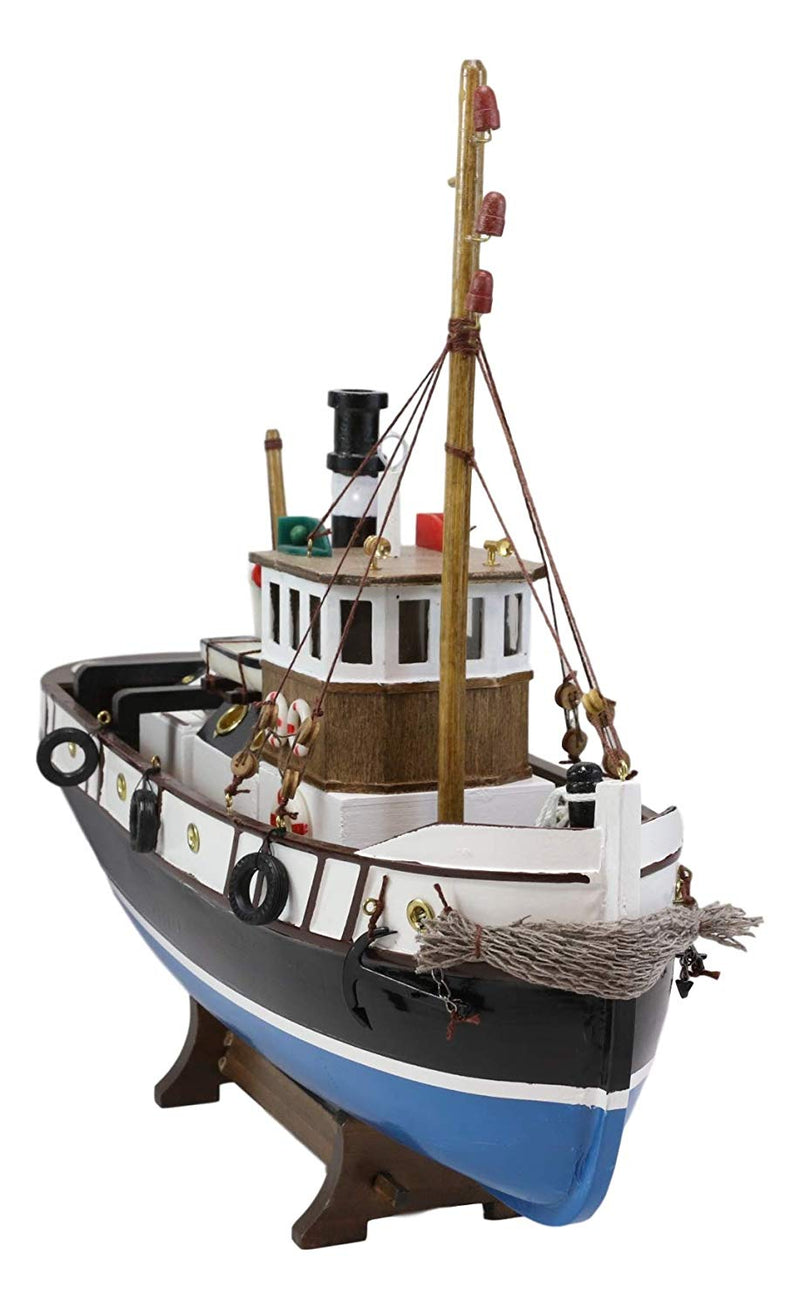"Ebros 17.25""L Blue Wooden Tugboat Boat Model Statue with Wood Base Stand Figure - Ebros Gift"