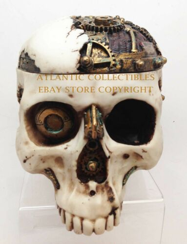Ebros 7.25 Inch Mechanical Steampunk Open Skull Decorative Box Statue Figurine