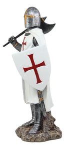 "Ebros White Cloak Caped Medieval Crusader Bardiche Axeman with Shield of Christ Knight Figurine 12.25"" H Medieval Royal Suit of Armor Knight of The Cross Axemen Resin Collectible Statue"