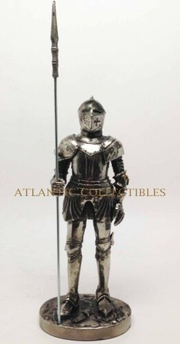 Ebros 7 Inch Armored Medieval Knight with Large Spear Statue Figurine