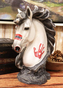 "Ebros White Horse Head Bust with Hamsa Evil Eye Palm Sculpture 12"" Tall Statue"