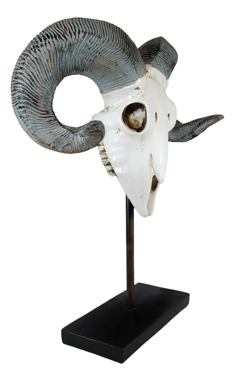 "Realistic Bighorn Sheep Ram Head Skull Rustic Sculpture On Pole Stand 18""H"