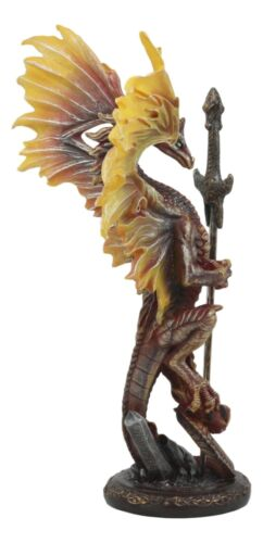 "Ebros Flame Blade Ruth Thompson Dragon Statue with Dragon Letter Opener Blade 11.75"" Tall Dragon Blade Series Collection"