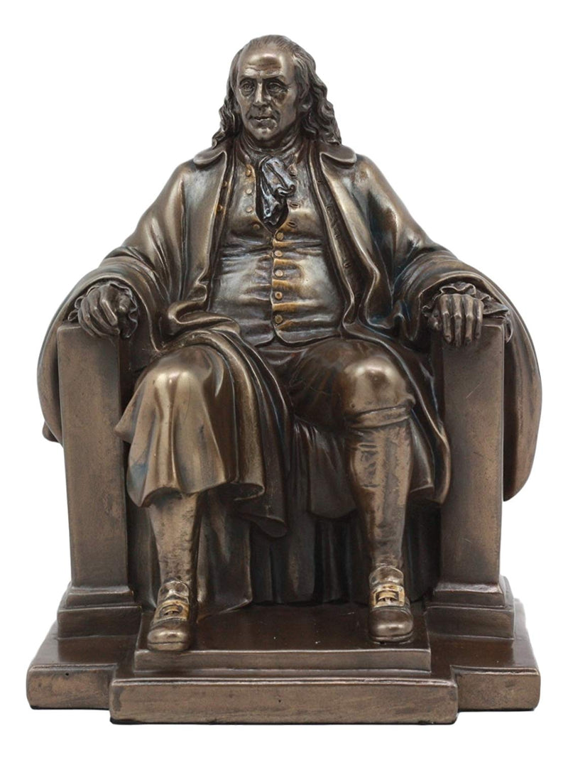 "Ebros Founding Father Benjamin Franklin Seated Statue 7.5"" Tall James Fraser Benjamin Franklin National Memorial Monument Figurine Reproduction"