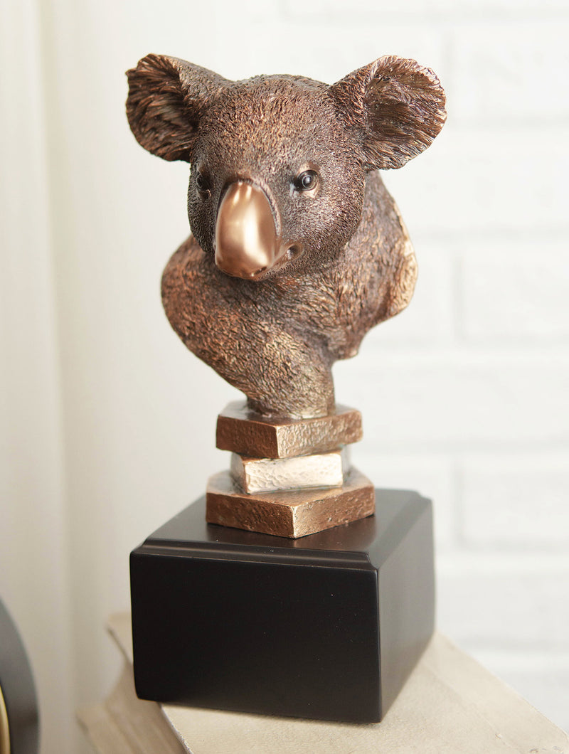 Exotic Australian Koala Bear Head Bust Statue In Bronze Electroplated Finish