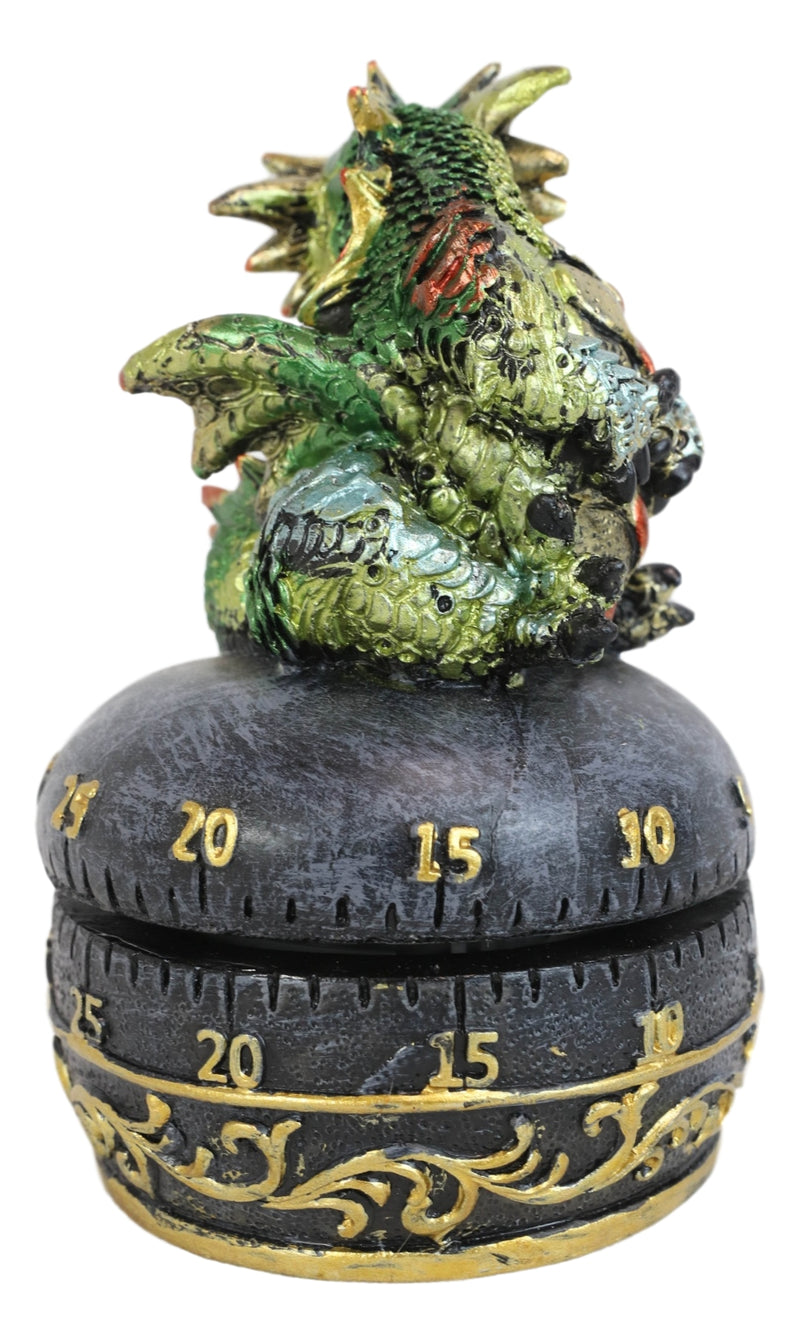 Green Baby Wyrmling Dragon Holding Egg Decorative Kitchen Timer Figurine 60 Min