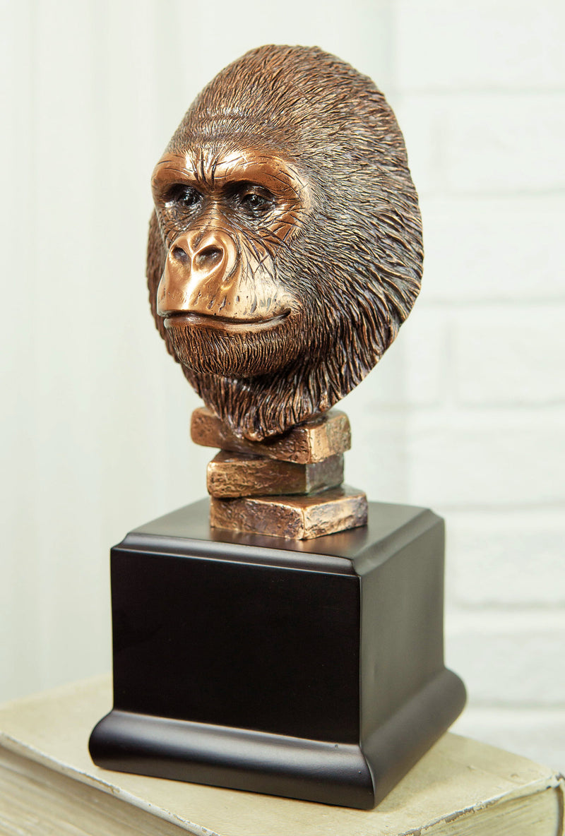 Rainforest Silverback Gorilla Head Bust Statue in Bronze Electroplated Finish