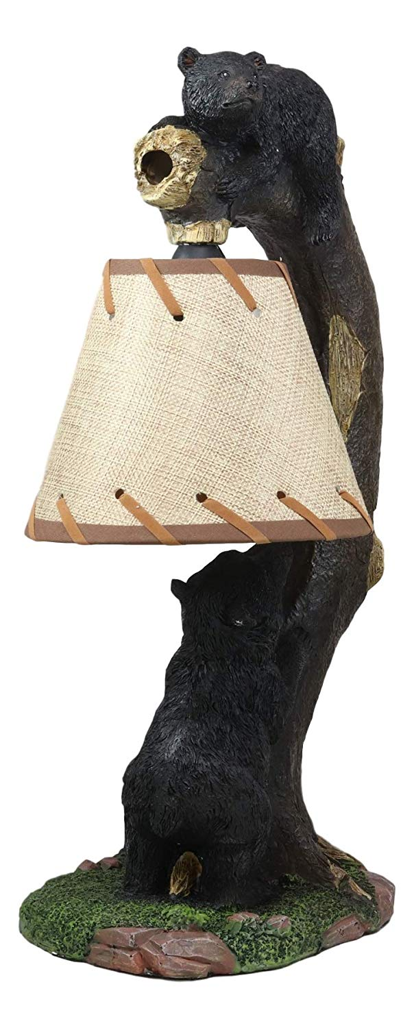 "Ebros Whimsical 2 Playful Climbing Black Bears On Bending Tree Branch Table Lamp Statue with Hanging Burlap Shade 15.75""High Rustic Cabin Lodge Decor Forest Bear Bedside Lamps - Ebros Gift"