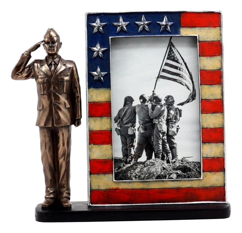 Ebros U.S. Military Air Force Uniformed Airman Saluting Picture Frame Figurine Decorative Tabletop Picture Frame With US Flag Borders