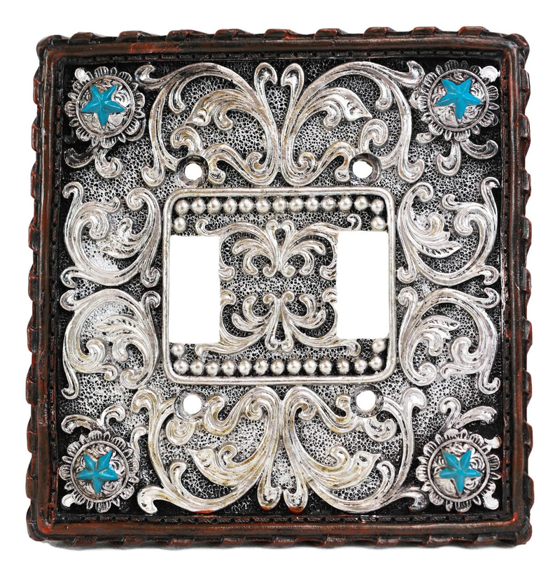 Set of 2 Western Turquoise Stars Lace Scroll Wall Double Toggle Switch Plates