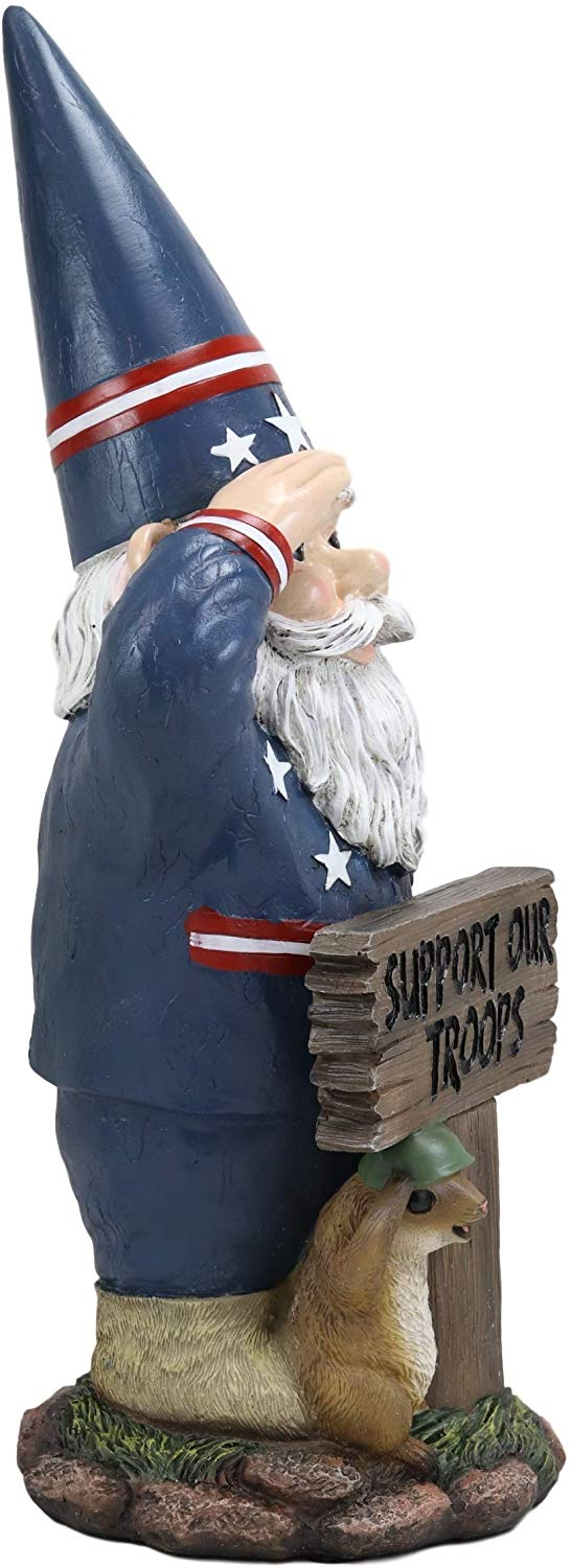 "Ebros Gift 17"" Tall Americana USA Patriotic Gnome with Pet Squirrel in Military Salute Statue with Support Our Troops Sign American Flag Uniform Druid Dwarf Home Garden Patio Lawn Figurine"