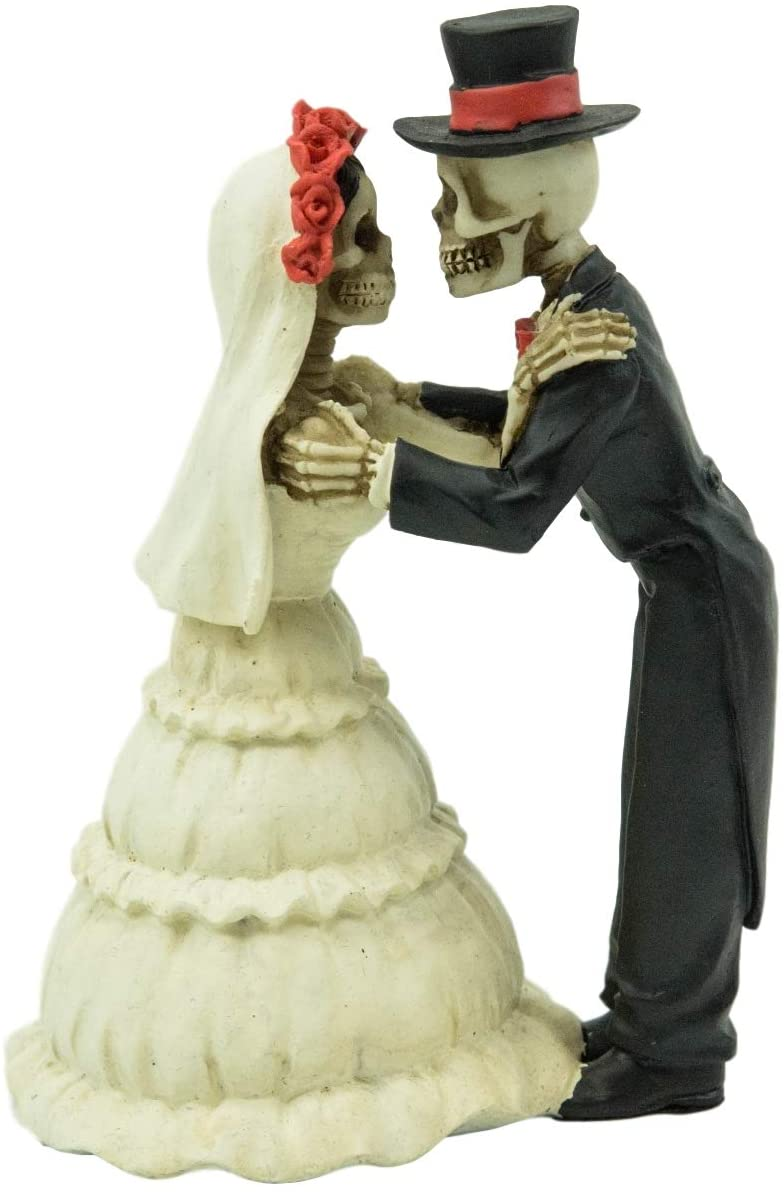"Ebros Love Never Dies Wedding Kiss Bride and Groom Skeleton Figurine 5.75""H - Ebros Gift"