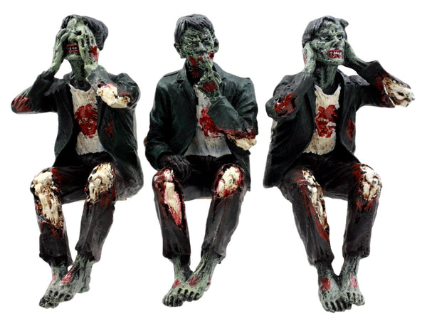 "Ebros Gift 4"" H Walking Dead Zombie See Hear Speak No Evil Figurine Set Walker with Peeling Flesh Decay Dead Rising Apocalypse PC Monitor Shelf Sitters Halloween Decor"