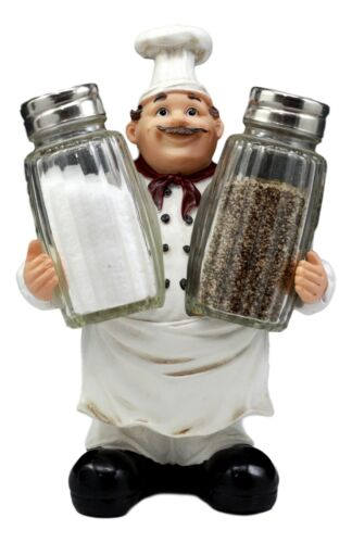 Bon Appetit Wine Master Standing Chef Salt And Pepper Shakers Holder Figurine