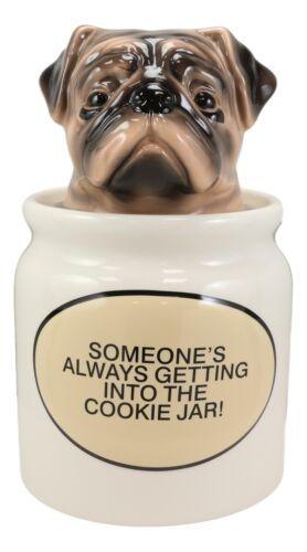 "Ceramic Adorable Hiding Thief Pugsie Pug Dog Cookie Jar With Air Tight Lid 9""H"