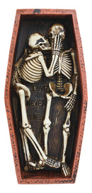 Love Never Dies Day Of The Dead Skeleton Couple Kissing Inside Coffin Statue