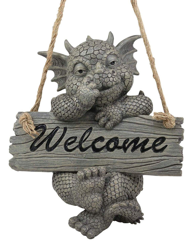 Ebros Whimsical Jute Strings Hanging Welcome Garden Dragon Picking Nose Statue Cute Wyrmling Figurine Dungeons and Dragons Mythical Fantasy Sculpture Guest Greeter Tree Branch Hanger Patio Decor