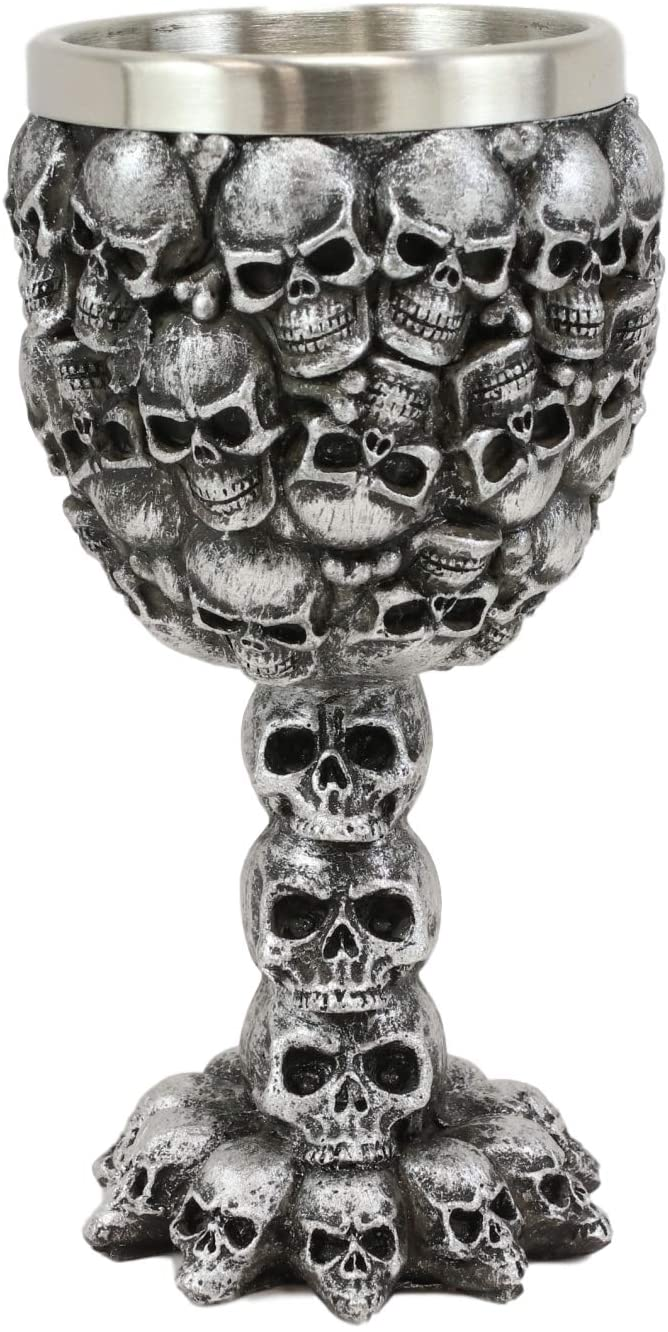 Ebros Day of The Dead Stacked Skulls Small Wine Goblet Or Shot Glass Chalice 3oz