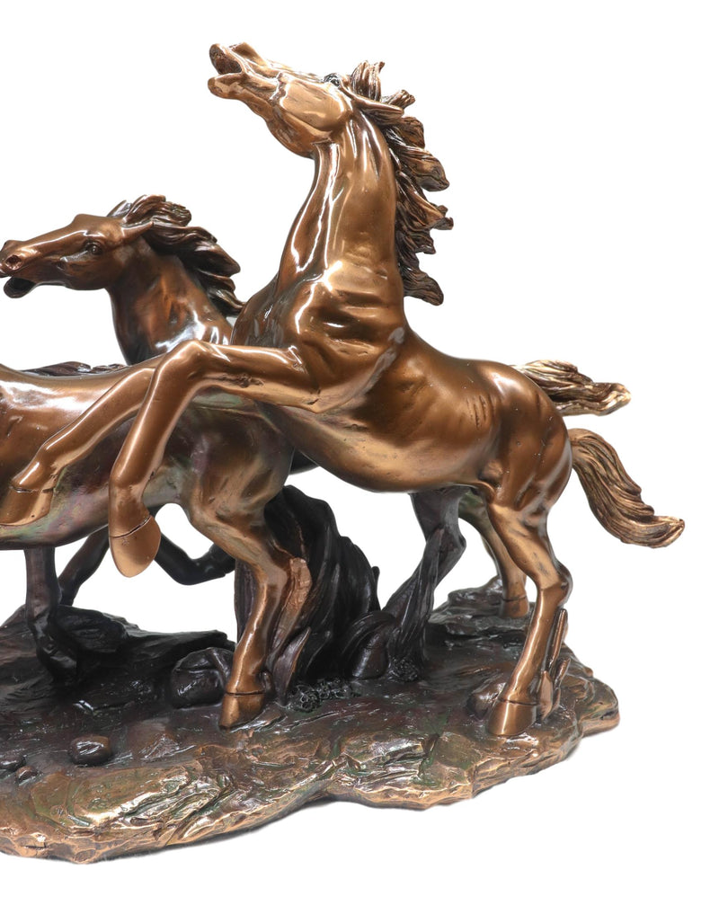 "Large 17""L Rustic Western Wild And Free 4 Running Horses Bronzed Resin Statue"