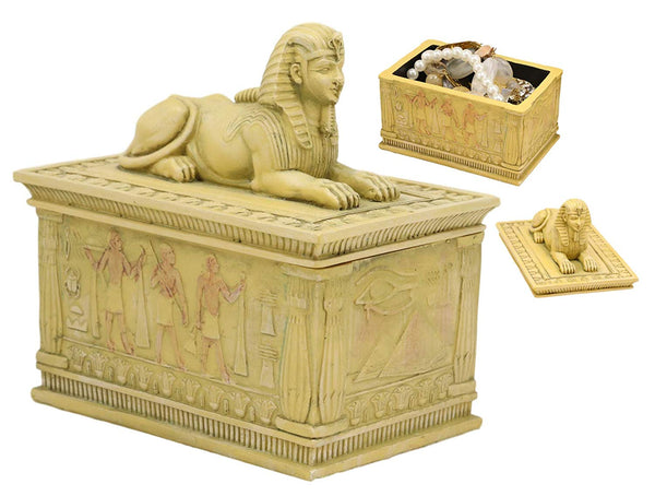 "Ebros Egyptian Guardian Sphinx Decorative Rectangular Box in Sandstone Finish 4.25"" Long Classical Egypt Monument Androsphinx with Hieroglyphic Deities Jewelry Trinket Box Sculpture"