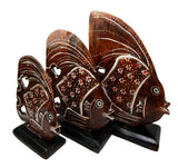 Balinese Wood Handicrafts Tropical Floral Angel Fish Family Set of 3 Figurines