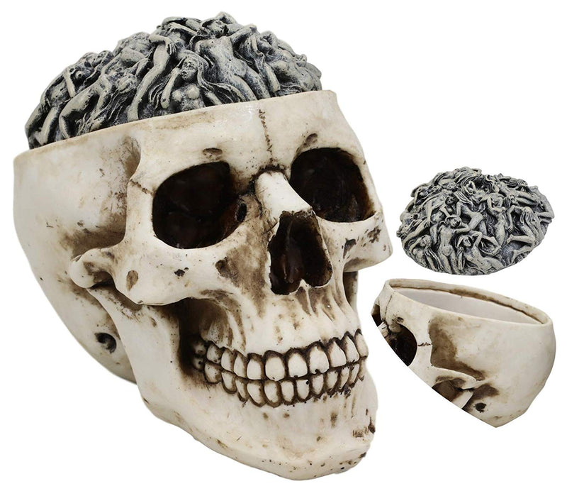 "Ebros Day of The Dead Ossuary Human Cranium Evil Grinning Skull Decorative Stash Box Figurine Skeleton Trinket Jewelry Box Statue 6.5"" Long (Erotica Nude Sexy Morphing Female Bodies)"