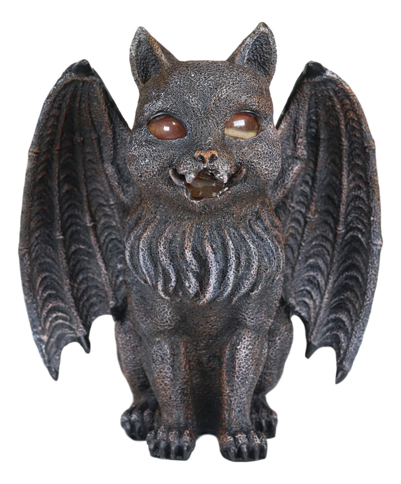 Winged Cat Gargoyle With Vampire Fangs Glowing Eyes Votive Candle Holder Statue