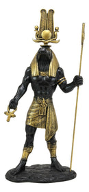"Ebros Black and Gold Egyptian Benevolent God Sobek with Crocodile Head Atef Crown and Human Body Form Statue 12"" H Patron of The Nile for Crops and Fertility Gods of Egypt Accent Figurine"