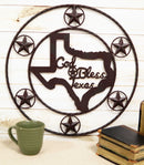 "20""D Vintage Rustic Western Star God Bless Texas Metal Circle Wall Hanging Decor"