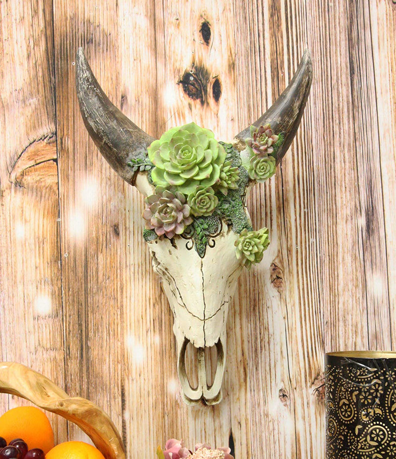 Ebros Western Vintage Aged Faux Taxidermy Wildlife Horned Game Animal Skull Head With Painted Flowering Succulents Wall Mount Decor 3D Replica Skulls Hanging Plaque Sculpture (Steer Bison Buffalo Cow)