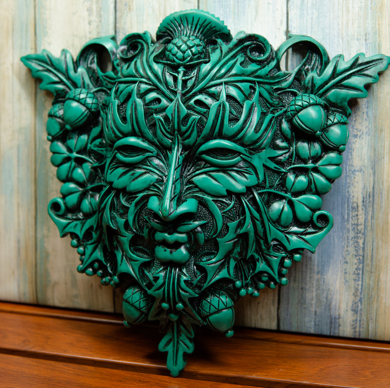 Green Acorn and Clover Greenman Unique Wall Plaque Sculpture By Maxine Miller