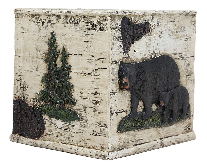 Ebros Wildlife Rustic Black Bear in Pine Trees Forest Bathroom Accent Resin Figurine Accessories with Birch Wood Finish Western Country Cabin Lodge Decorative (Tissue Box Cover)
